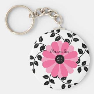 名前の粋でモノグラムのなピンクおよび黒い花 キーホルダー