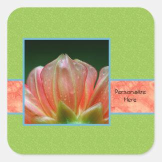 名前の粋なオレンジ花の花びら スクエアシール