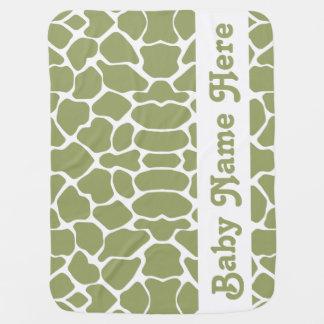 名前の緑のサファリのキリン ベビー ブランケット