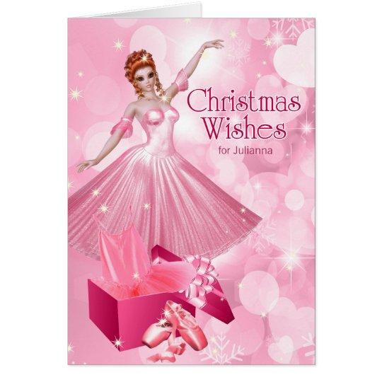 名前の舞台芸術のバレリーナのピンクのクリスマス カード