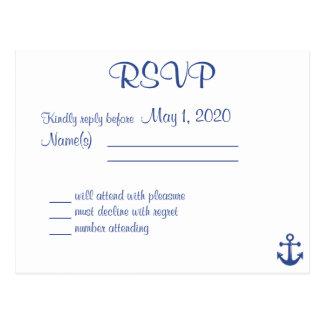 名前の航海のな結婚RSVPの郵便はがき ポストカード