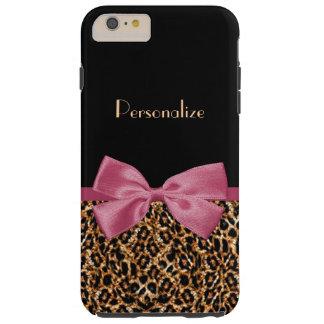 名前の贅沢な金ゴールドの毛皮のヒョウのプリントの藤色の弓 TOUGH iPhone 6 PLUS ケース