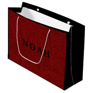 名前の赤いピクセルクリスマスのギフトバッグ ラージペーパーバッグ