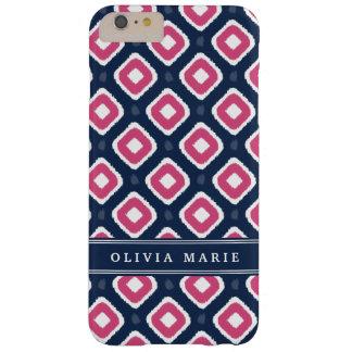 名前の青いピンクのイカットのモダンなパターン BARELY THERE iPhone 6 PLUS ケース