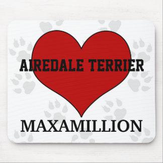 名前のAiredaleテリア犬の品種赤いハート マウスパッド