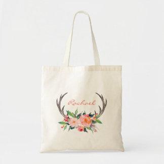 名前のBohoの素朴な花の(雄ジカの)枝角 トートバッグ