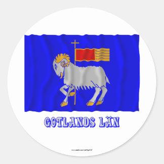 名前のGotlandsのlänの振る旗 丸形シール・ステッカー