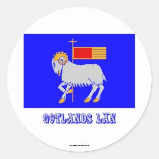 名前のGotlandsのlänの旗 丸型シール