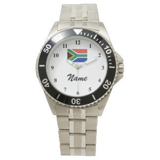 名前をカスタムするおよび南アフリカの旗が付いている腕時計 ウオッチ