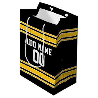 名前をカスタムするおよび数を用いるチームジャージー ミディアムペーパーバッグ