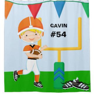 名前をカスタムするおよび数オレンジフットボール選手 シャワーカーテン