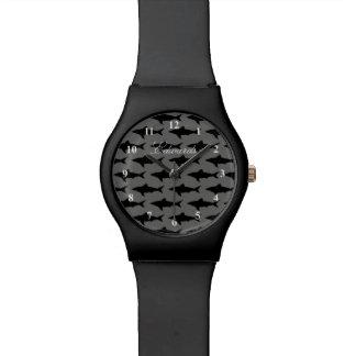 名前をカスタムすると男性へ黒い及びホオジロザメの腕時計 腕時計