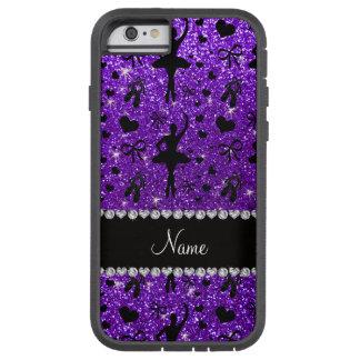 名前をカスタムするのインディゴの紫色のグリッターのバレリーナ iPhone 6 タフ・エクストリームケース