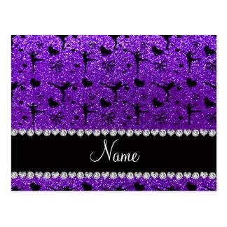 名前をカスタムするのインディゴの紫色のグリッターのフィギュアスケート ポストカード