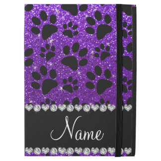 """名前をカスタムするのインディゴの紫色のグリッターの憂うつの足 iPad PRO 12.9"""" ケース"""