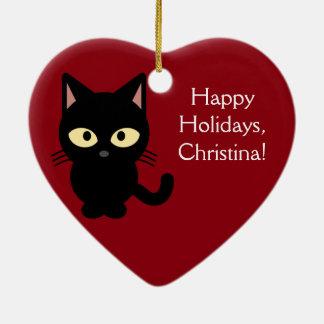 名前をカスタムするのクリスマスの子ネコのオーナメント セラミックオーナメント