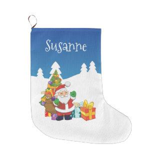 名前をカスタムするのクリスマスサンタ ラージクリスマスストッキング