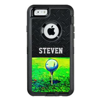 名前をカスタムするのゴルフをするダイヤモンドのプレートの例 オッターボックスディフェンダーiPhoneケース