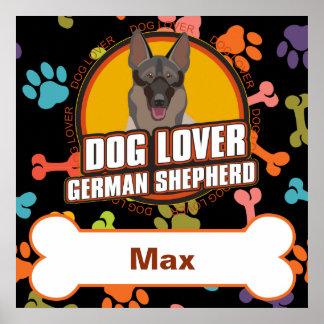 名前をカスタムするのジャーマン・シェパードの犬用の骨の子犬の足 ポスター