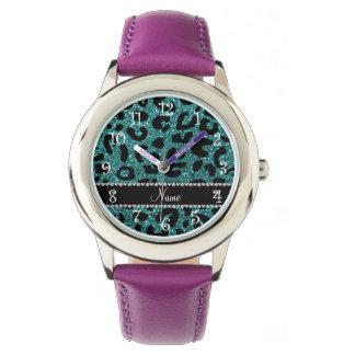 名前をカスタムするのターコイズのグリッターのチータのプリント 腕時計