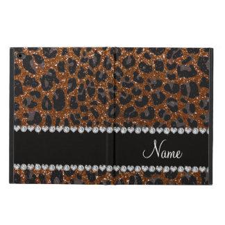 名前をカスタムするのチョコレート色のグリッターのヒョウのプリント POWIS iPad AIR 2 ケース