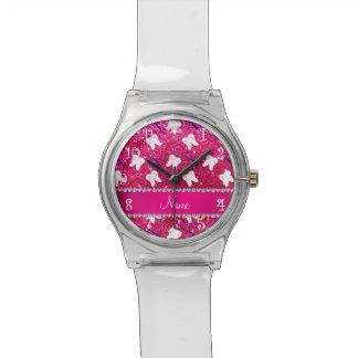 名前をカスタムするのネオンショッキングピンクのグリッターは歯をみがきます 腕時計