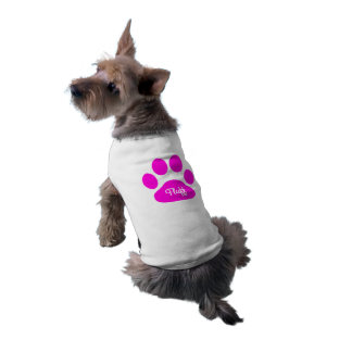 名前をカスタムするのネオンピンクおよび白い犬の足 ペット服