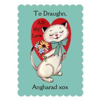 名前をカスタムするのノスタルジックなシャム猫のバレンタインカード カード