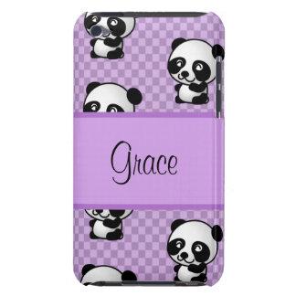 名前をカスタムするのパンダは紫色のギンガムに関係します Case-Mate iPod TOUCH ケース