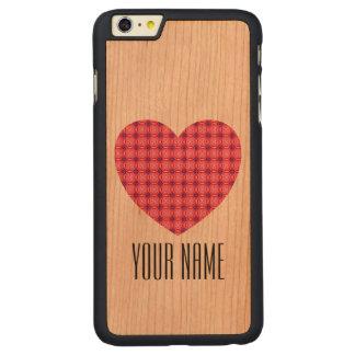 名前をカスタムするのピンクのハートパターンiPhone 6のプラス木 CarvedチェリーiPhone 6 Plusスリムケース