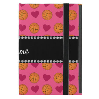 名前をカスタムするのピンクのバスケットボールおよびハート iPad MINI ケース