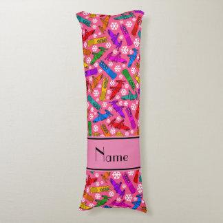 名前をカスタムするのピンクの虹のボブスレーの雪片 ボディピロー