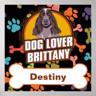 名前をカスタムするのブリッタニー犬の恋人の骨の子犬の足 ポスター