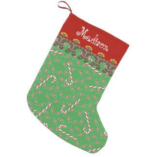 名前をカスタムするのマディソンのジンジャーブレッドのクッキーの休日 スモールクリスマスストッキング