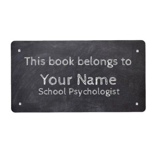 名前をカスタムするの学校の心理学者の黒板のラベル ラベル