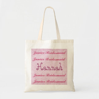 名前をカスタムするの後輩の新婦付添人のピンクのダマスク織 トートバッグ
