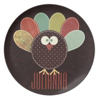 名前をカスタムするの感謝祭のパッチワークトルコ プレート