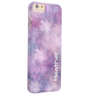 名前をカスタムするの抽象的な青、薄紫およびピンク スキニー iPhone 6 PLUS ケース