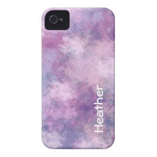 名前をカスタムするの抽象的な青、薄紫およびピンク iPhone 4 ケース