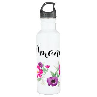 名前をカスタムするの水彩画によっては水が開花します ウォーターボトル
