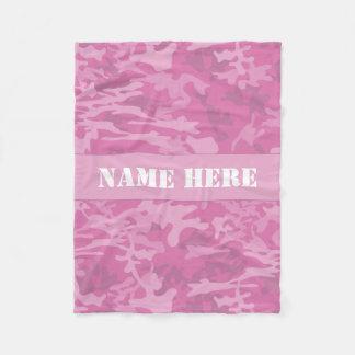 名前をカスタムするの淡いピンクの迷彩柄パターンブランケット フリースブランケット