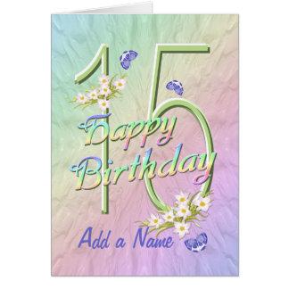 名前をカスタムするの第15誕生日の蝶庭カード カード