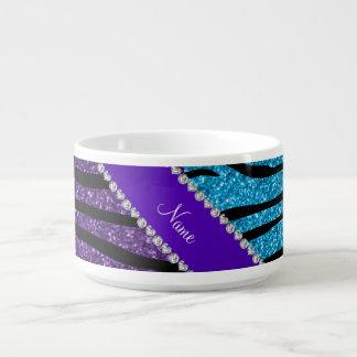 名前をカスタムするの紫色のスカイブルーのグリッターのシマウマは縞で飾ります チリボウル