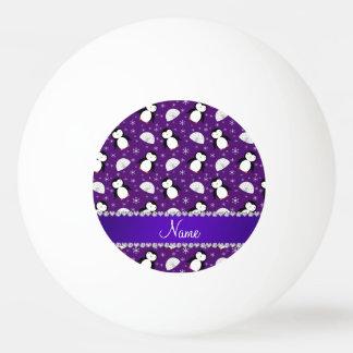 名前をカスタムするの紫色のペンギンのイグルーの雪片 卓球ボール