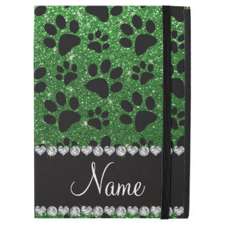 """名前をカスタムするの緑のグリッターの憂うつの足 iPad PRO 12.9"""" ケース"""