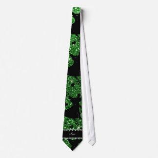 名前をカスタムするの緑のグリッターの社交ダンス ネクタイ