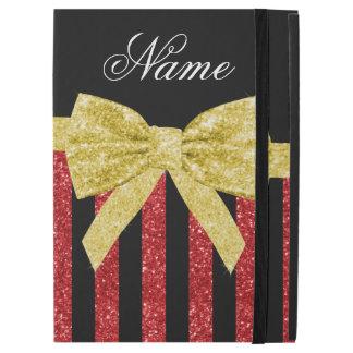 """名前をカスタムするの赤いグリッターのストライプな金ゴールドのグリッターの弓 iPad PRO 12.9"""" ケース"""