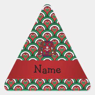 名前をカスタムするの醜いクリスマスのセーターのキャンディ・ケーン 三角形シール