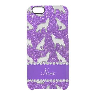 名前をカスタムするの銀製のオオカミのインディゴの紫色のグリッター クリアiPhone 6/6Sケース
