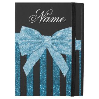"""名前をカスタムするの青いグリッターのストライブ柄のグリッターの弓 iPad PRO 12.9"""" ケース"""